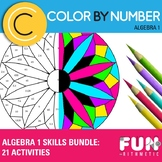 Algebra I Color by Number Skills Bundle: 21 Activities