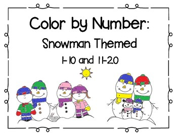 Color by Number: Snowman Themed