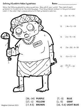 zombie color by number solving absolute value equations - Solving Absolute Value Equations Worksheet