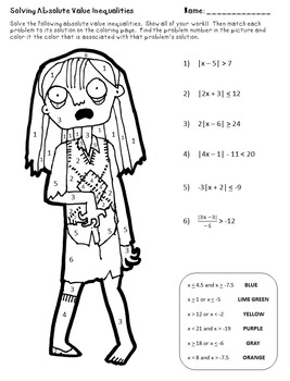 Zombie Color by Number:  Solving Absolute Value Inequalities