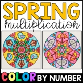 Color by Number: Spring Multiplication Facts Practice