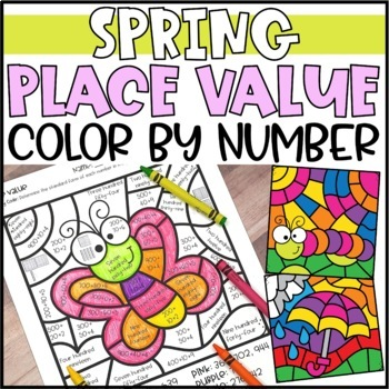 Color by Number Spring Mystery Pictures: Place Value Worksheets