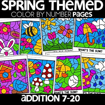 Color by Number Sums 7 - 20 Spring Scenes