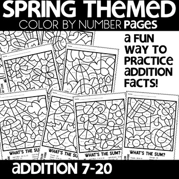 Color by Number Sums 7 - 20 Spring Scenes| Math Worksheets