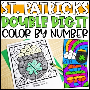 Color by Number St. Patrick's Day Pictures: Double Digit Addition & Subtraction