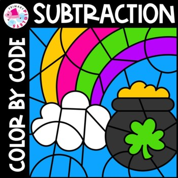Color by Number Subtraction Facts St. Patrick's Day Set