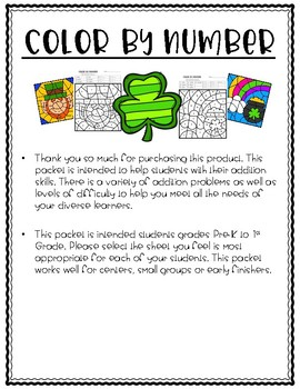 Color by Number St. Patty's Day