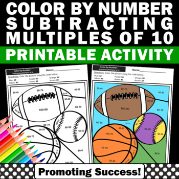 Color By Number Subtraction 1st And 2nd Grade Math Worksheets Sps
