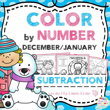 Color by Number Subtraction Facts December and January