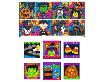 Color by Number Subtraction Facts Halloween BUNDLE 2 Sets