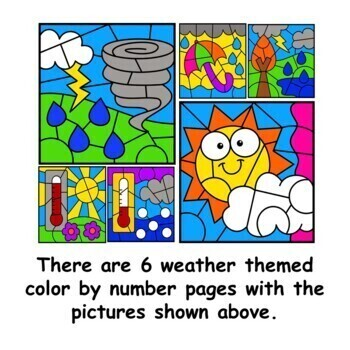 Spring Color by Number Subtraction Facts Weather Set