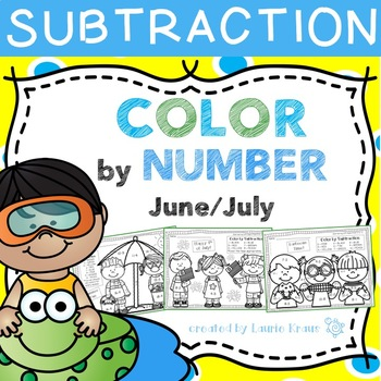 Color by Number Subtraction Facts June and July