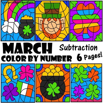 Color by Number Subtraction St. Patrick's Day March Spring Theme pages