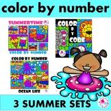 Color by Number Summer BUNDLE of 3 Sets
