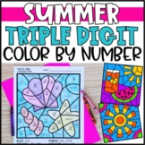 Color by Number Summer Mystery Pictures: Triple Digit Addition & Subtraction