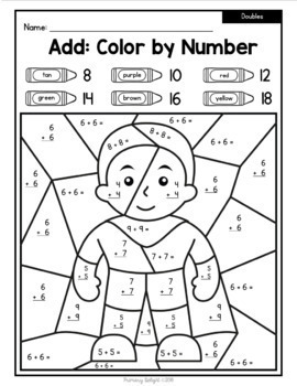 FREE Color by Number Super Heroes with Doubles, +/-10, and Place Value