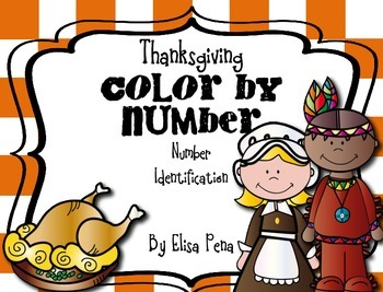 Color by Number - Number Identification: Thanksgiving