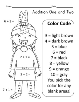 Thanksgiving Color by Number Math Practice - Addition One and Two Freebie