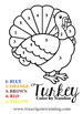 Color by Number Thanksgiving Turkey