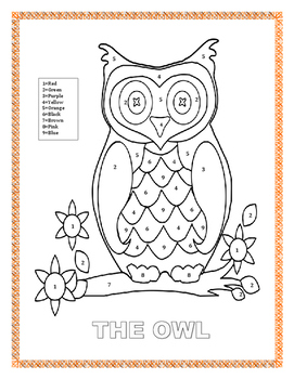 "Back to School-Color by Number-""The Owl""- K-2 -The Farm"