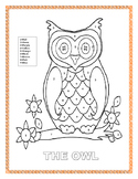 """The Farm-Color by Number-""""The Owl""""- K-2"""