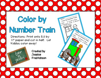Color by Number Train Freebie!