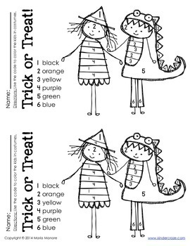 Color by Number Trick or Treat Halloween Coloring Page