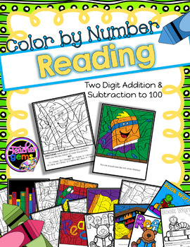 Color by Number Two Digit Addition and Subtraction Reading Theme