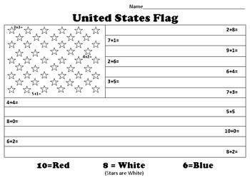 Color by Number U.S. Flag - Addition