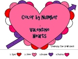 Color by Number Valentine Hearts