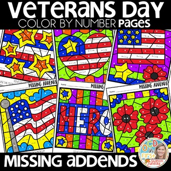 Color by Number Veterans Day | missing addends | Math Worksheets