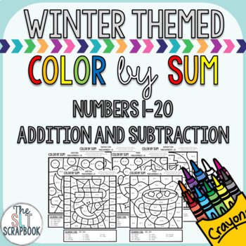 Color by Number- Winter themed- No Prep- Color by Sum - Addition and Subtraction