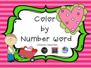 Color by Number Word- Valentine Theme