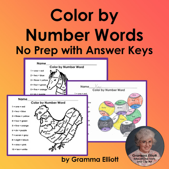 Color by Number Words 6 No Prep Worksheets with Answer Keys