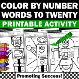 Color by Number Words to 20 Kindergarten Math Coloring Pages Early Finishers SPS
