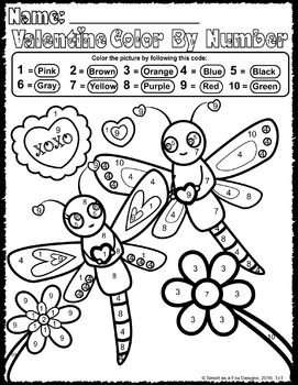 color by number worksheets ready to print and go valentine love bugs theme. Black Bedroom Furniture Sets. Home Design Ideas