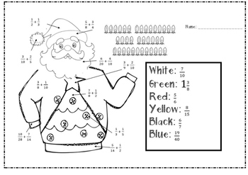 Holiday Themed: Color by Number- Fraction Review