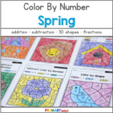 Color by Number for Spring: Addition, Subtraction, Place Value, and Fractions