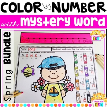 Color by Number for Spring with Mystery Word