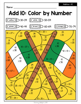 Color by Number for St. Patrick's Day: Addition and Subtraction