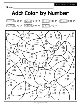 Color by Number for Easter: Addition and Subtraction