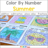 Summer Math: Color by Number {Addition, Subtraction, Place Value and Fractions}