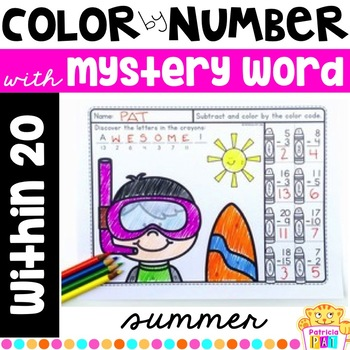 Color by Number for Summer within 20 with mystery word