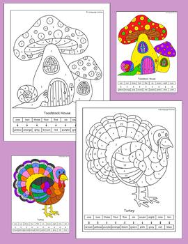 Color by Number - fun Fall / Autumn pictures for elementary or EFL EAL ESL