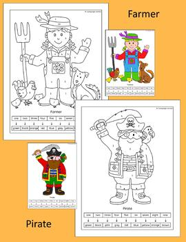 Color by Number - fun people pictures - pirate, clown, witch, scarecrow and more