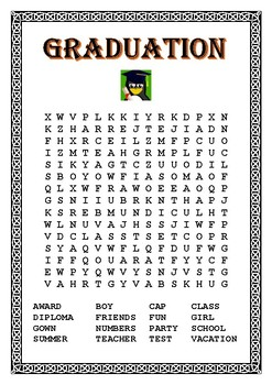 "Kindergarten Graduation- Color by Number-""The Owl""- Word Search"