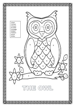 "Color by Number-""The Owl""- K-2 Colors Interactive Lesson"