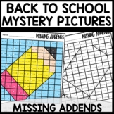 Color by Number |missing addends| BACK TO SCHOOL Themed |