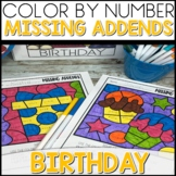 Color by Number |missing addends| BIRTHDAY Themed | Math Worksheets