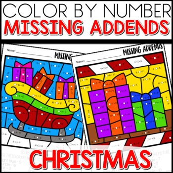 Color by Number (missing addends) Christmas Themed